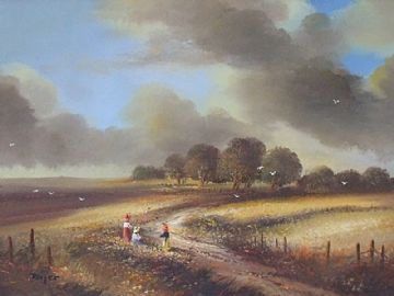 Ted Dyer Original Oil Painting Rural Landscape With Children